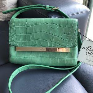 Green crock embossed Madison Ave crossbody bag